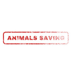 animals saving rubber stamp vector image
