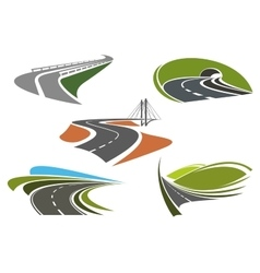 Asphalt highway and roads abstract icons vector