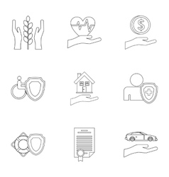 Assurance icons set outline style vector