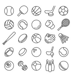 ball sports line icons outline equipment vector image