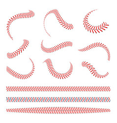 baseball laces set baseball stitches with red vector image
