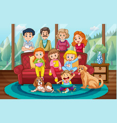 Big family at home vector