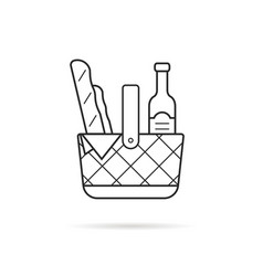 Black thin line picnic basket icon with food vector