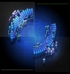blue abstract tech background design with round vector image