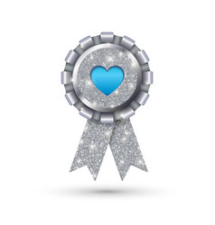 blue heart like silver medal template vector image