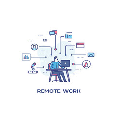 Businessman is making remote work by computer vector