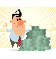 Businessman with bunch money vector