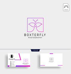Butterfly photography logo template with business vector