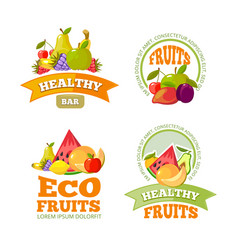 Cartoon fruits labels colorful sticker with place vector