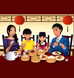 Chinese family eating dim sum vector