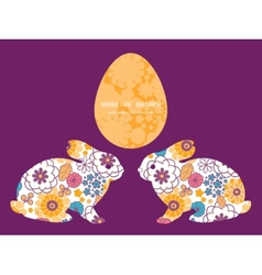 Colorful oriental flowers bunny rabbit vector
