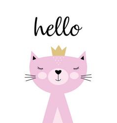 Cute kitty card vector