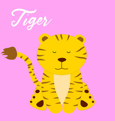 cute tiger baby girl cartoon vector image