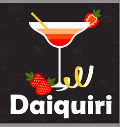 daiquiri glass of cocktail strawberry background v vector image