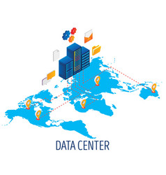 data center hosting concept isometric vector image