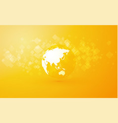 earth globe with asia abstract yellow background vector image