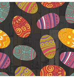 easter eggs seamless wooden background vector image
