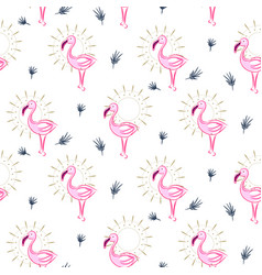 elegant pink flamingo bird seamless pattern vector image