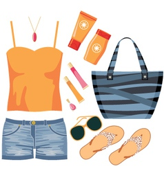 Fashionset of summer clothes vector image