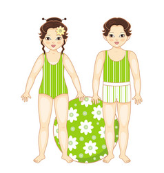 flat asian boy and girl kids in swimsuit vector image