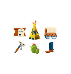 flat set of attributes of wild west cowboy vector image
