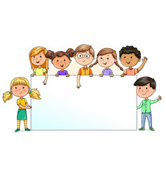 Funny kids holding blank banner for your text vector