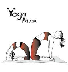 Girl and woman doing yoga poses vector