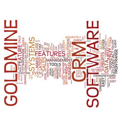 Goldmine crm text background word cloud concept vector