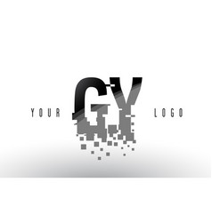 gy g y pixel letter logo with digital shattered vector image