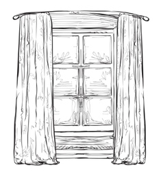 Hand drawn hurtains Windows sketch vector