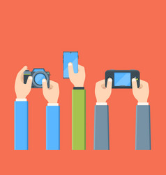 hands with digital devices flat vector image
