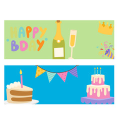 happy birthday party celebration cards vector image