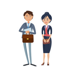 Happy businessman with briefcase and lady boss vector