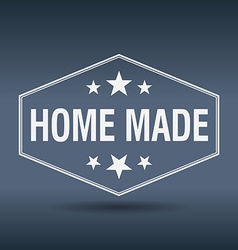 Home made hexagonal white vintage retro style vector