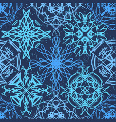 ink hand drawn ornamental design snowflakes vector image
