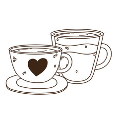 International day coffee ceramic and glass vector