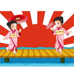 Japanese girls vector image