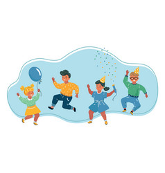 Kids jumping on white background vector