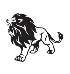 Lion roar mascot stance icon vector