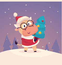 little cute bull dressed as santa claus and vector image