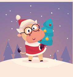 little cute bull dressed as santa claus vector image