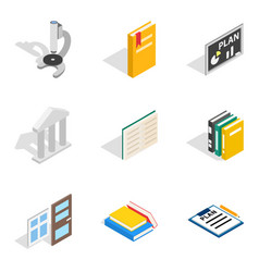 Magistrate icons set isometric style vector