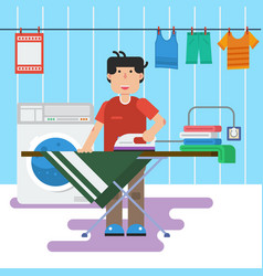 man in laundry is washing and ironing vector image