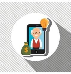 Man smartphone bag money vector
