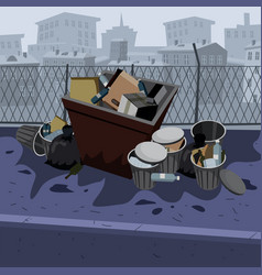 metal garbage containers with unsorted trash vector image