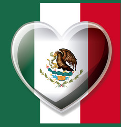 Mexican flag colorful silhouette with 3d heart vector