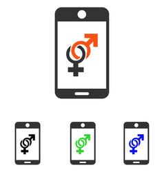 Mobile dating flat icon vector
