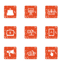 necessary icons set grunge style vector image