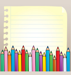 notepad blank page with crayons vector image