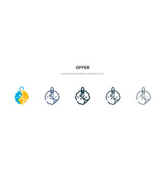 Offer icon in different style two colored and vector